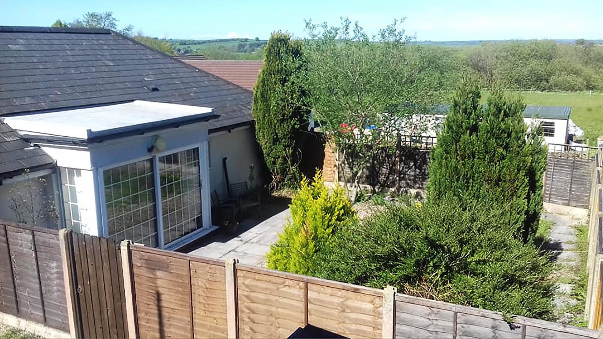 View from outside of fully enclosed garden