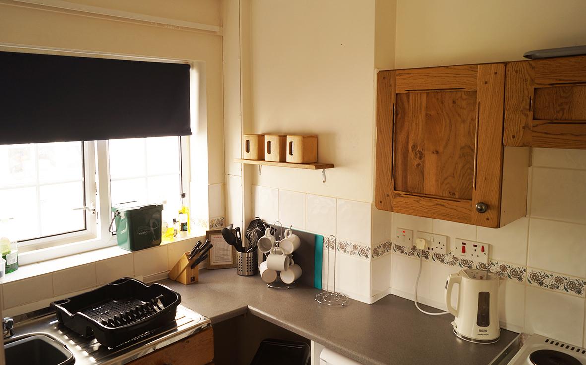 Kitchen, with cooker, fridge, kettle & toaster